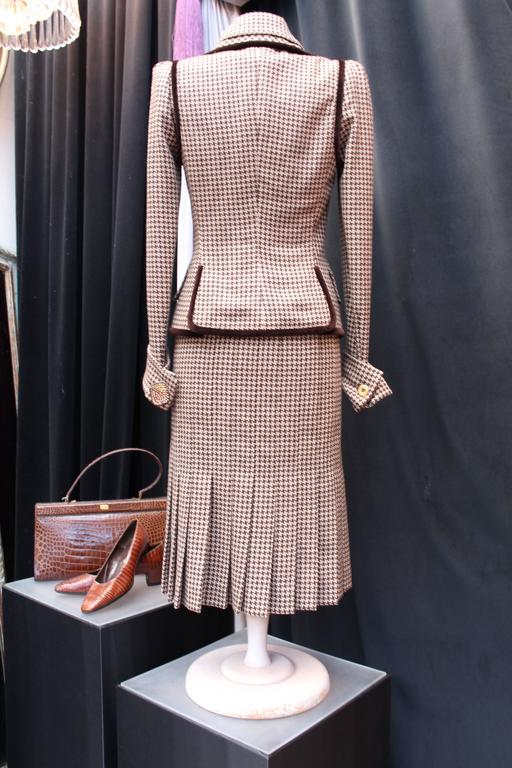 Beige Fall 2004 Jean-Louis Scherrer Houndstooth Dress and Jacket Ensemble For Sale