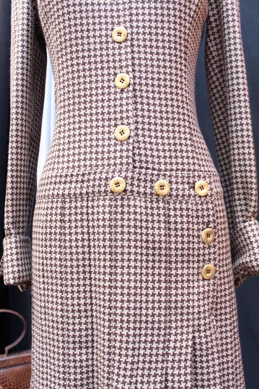 Women's Fall 2004 Jean-Louis Scherrer Houndstooth Dress and Jacket Ensemble For Sale