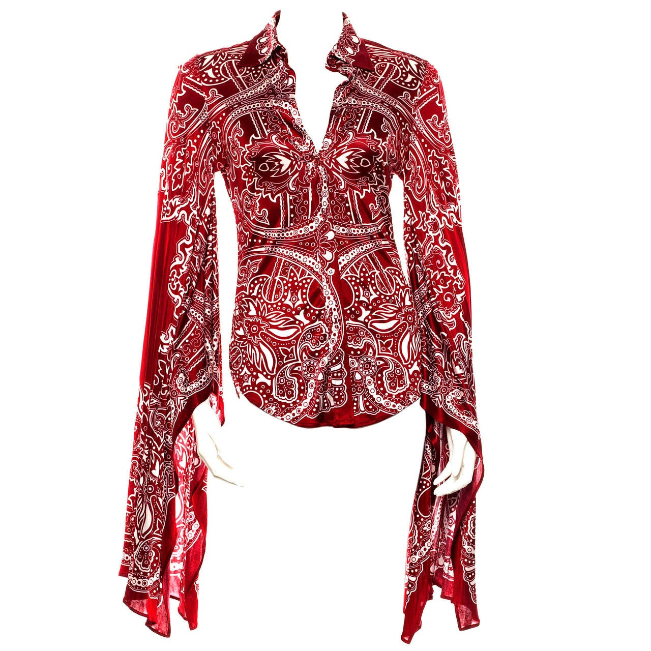 Gucci Vintage Red Print Blouse, - 280.6KB