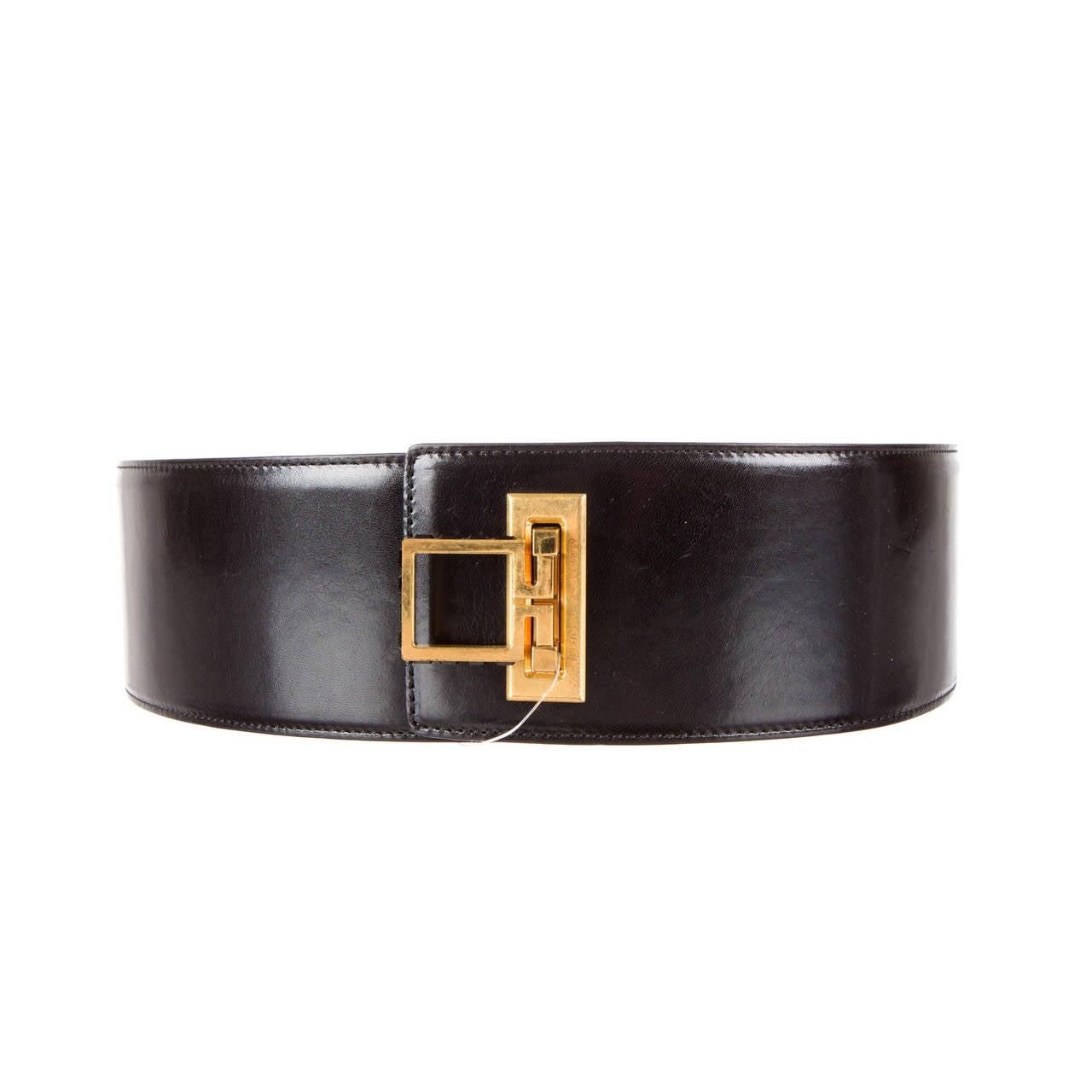 mcqueen wide black leather belt at 1stdibs