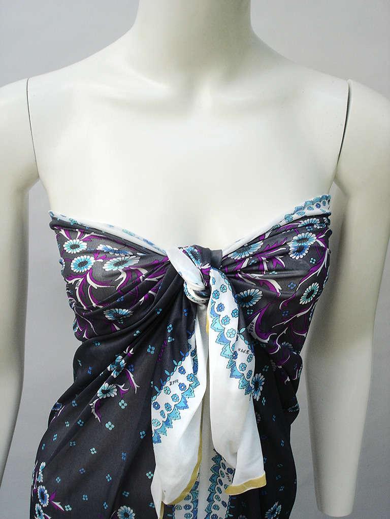 Black 1960s Emilio Pucci Fabric Panel Noir Floralette For Sale