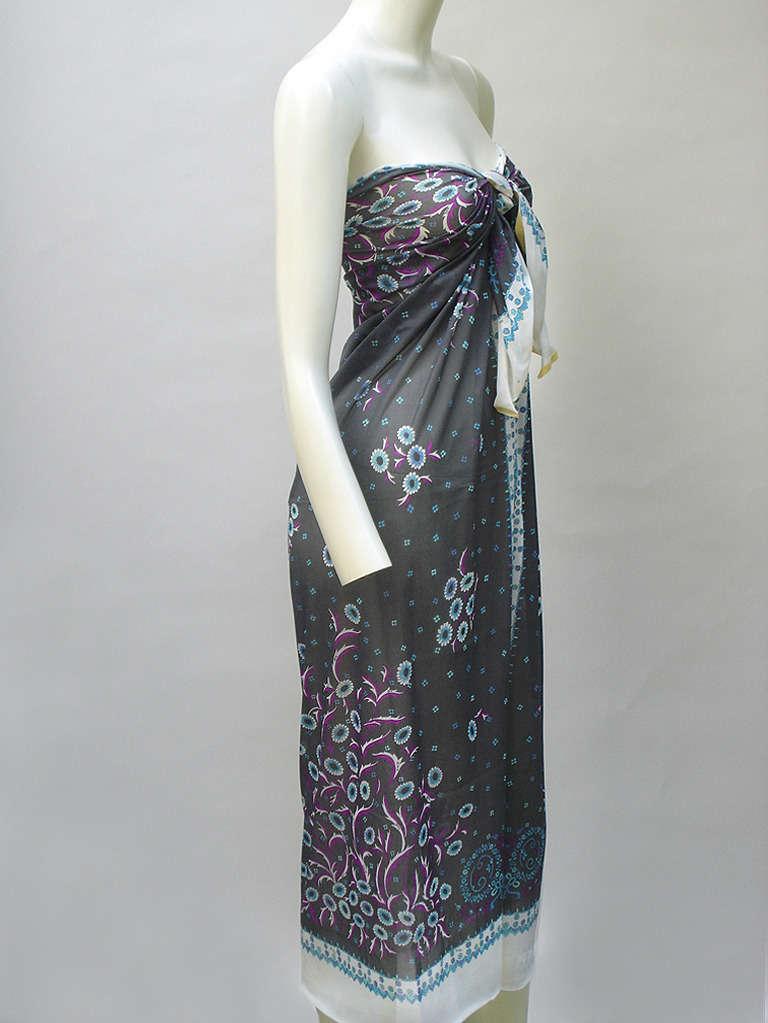 Women's 1960s Emilio Pucci Fabric Panel Noir Floralette For Sale
