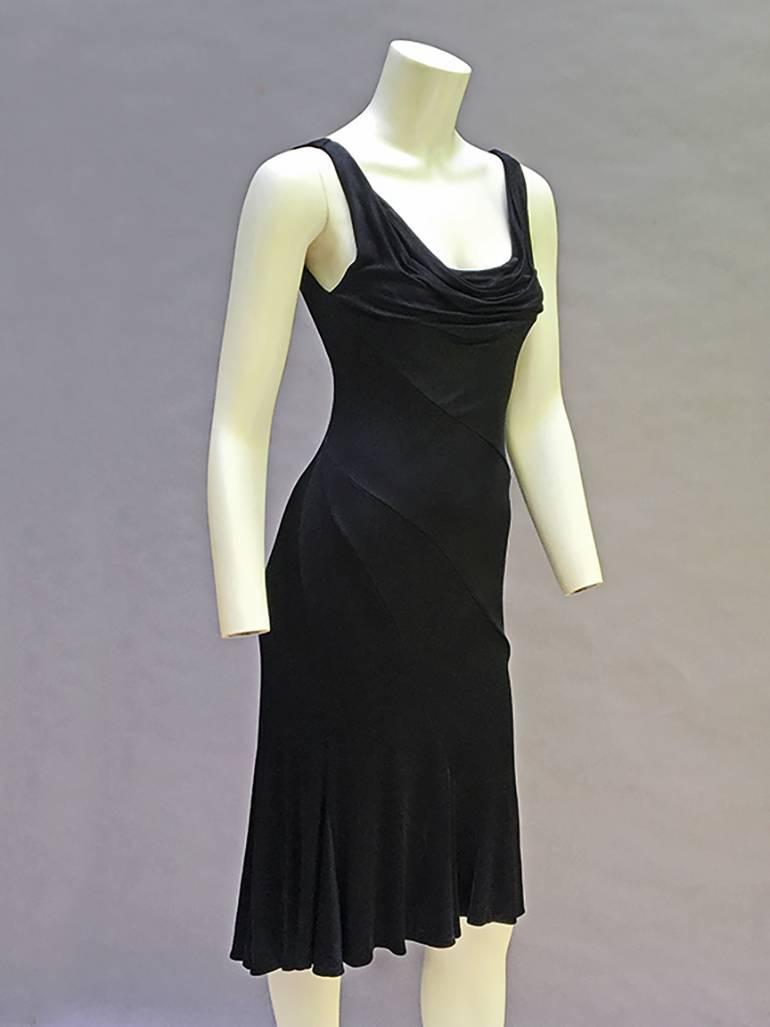 90s Gianni Versace Vintage Black Silk Jersey Dress For