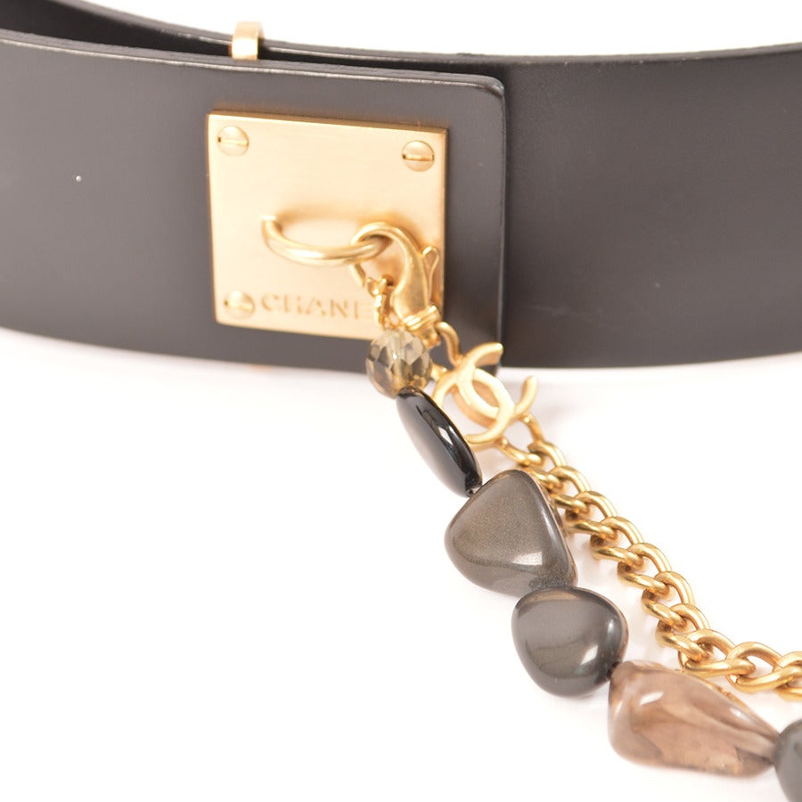 Chanel Black Leather Hip Belt With Natural Stone Chain At