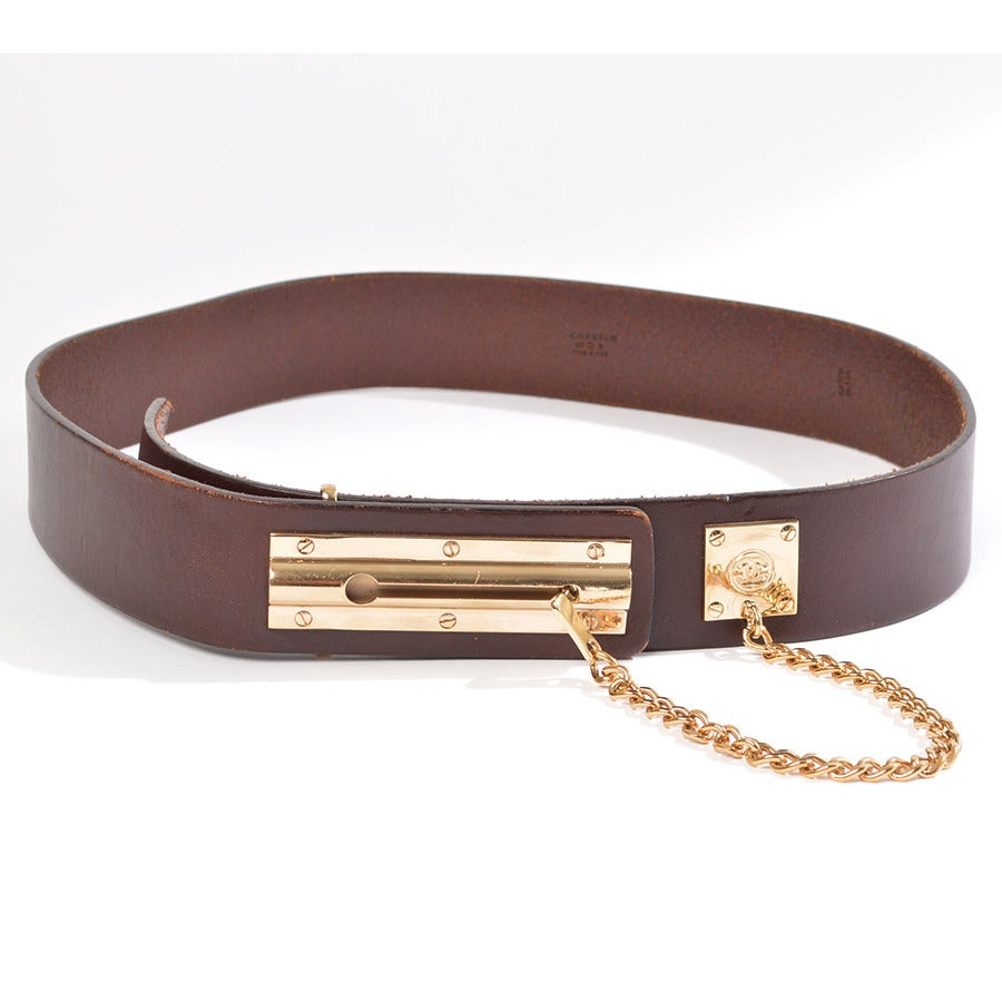 chanel brown leather quot door chain lock quot hip belt at 1stdibs