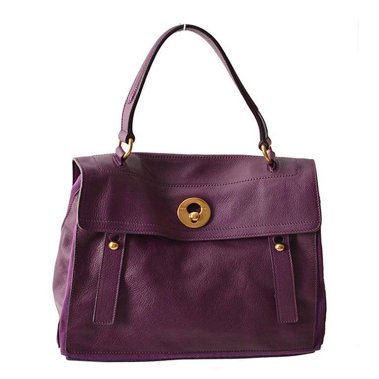 YSL Sac Muse 2 Medium Purple Leather Tote Bag