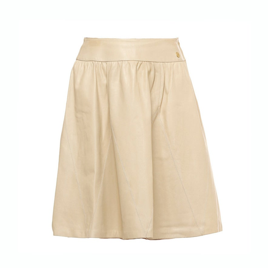 chanel ivory leather skirt at 1stdibs