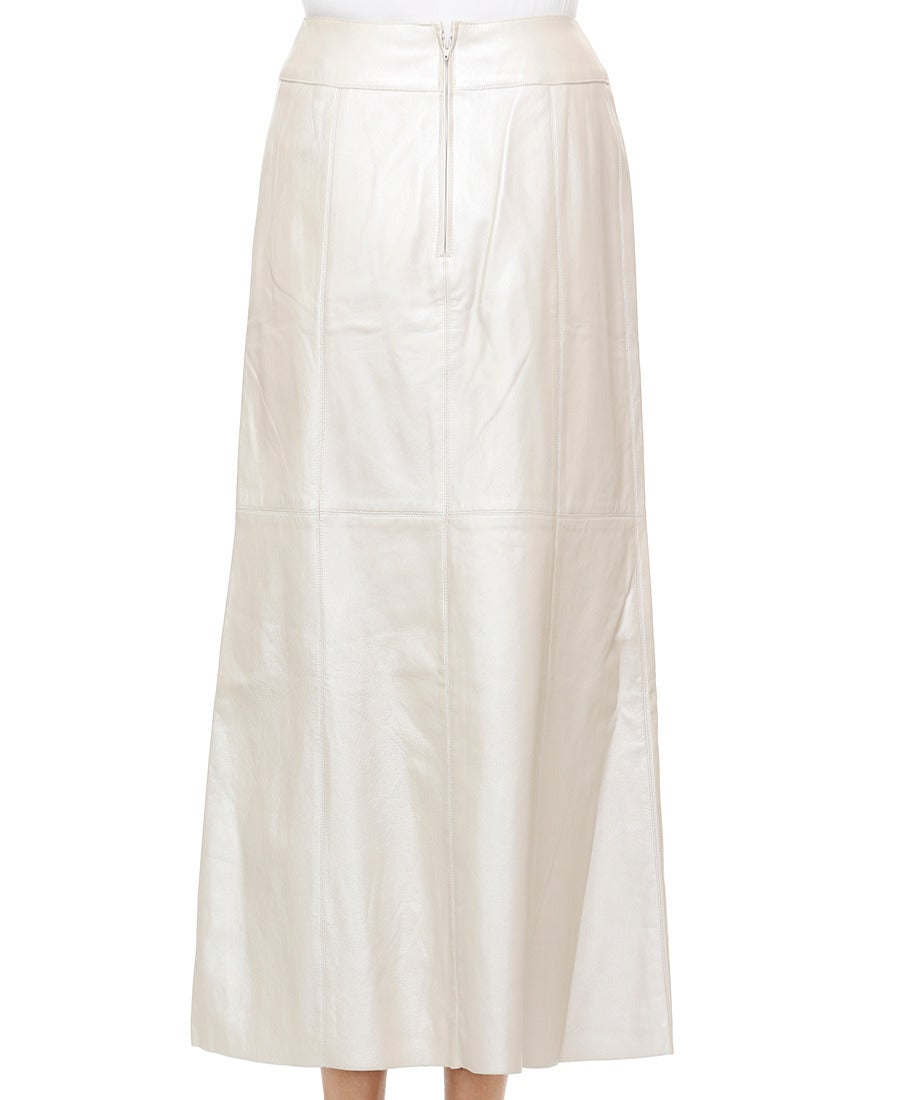 chanel metallic ivory leather skirt image 2