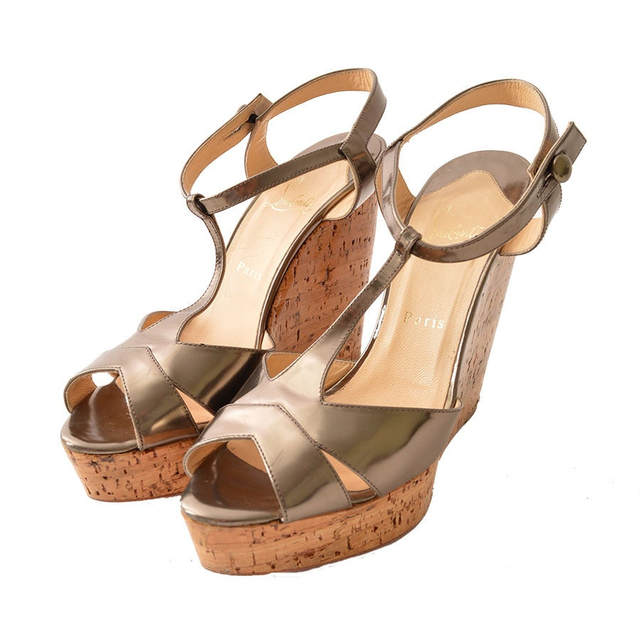 fake louboutins online - christian louboutin metallic sandals Bronze cork wedges | The ...