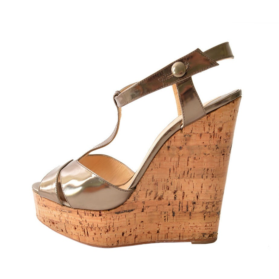 christian louboutin metallic sandals Bronze cork wedges | The ...