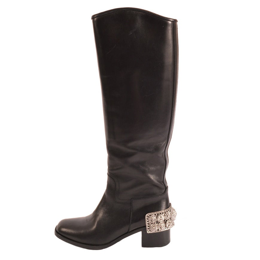 chanel black leather boots with silver metal