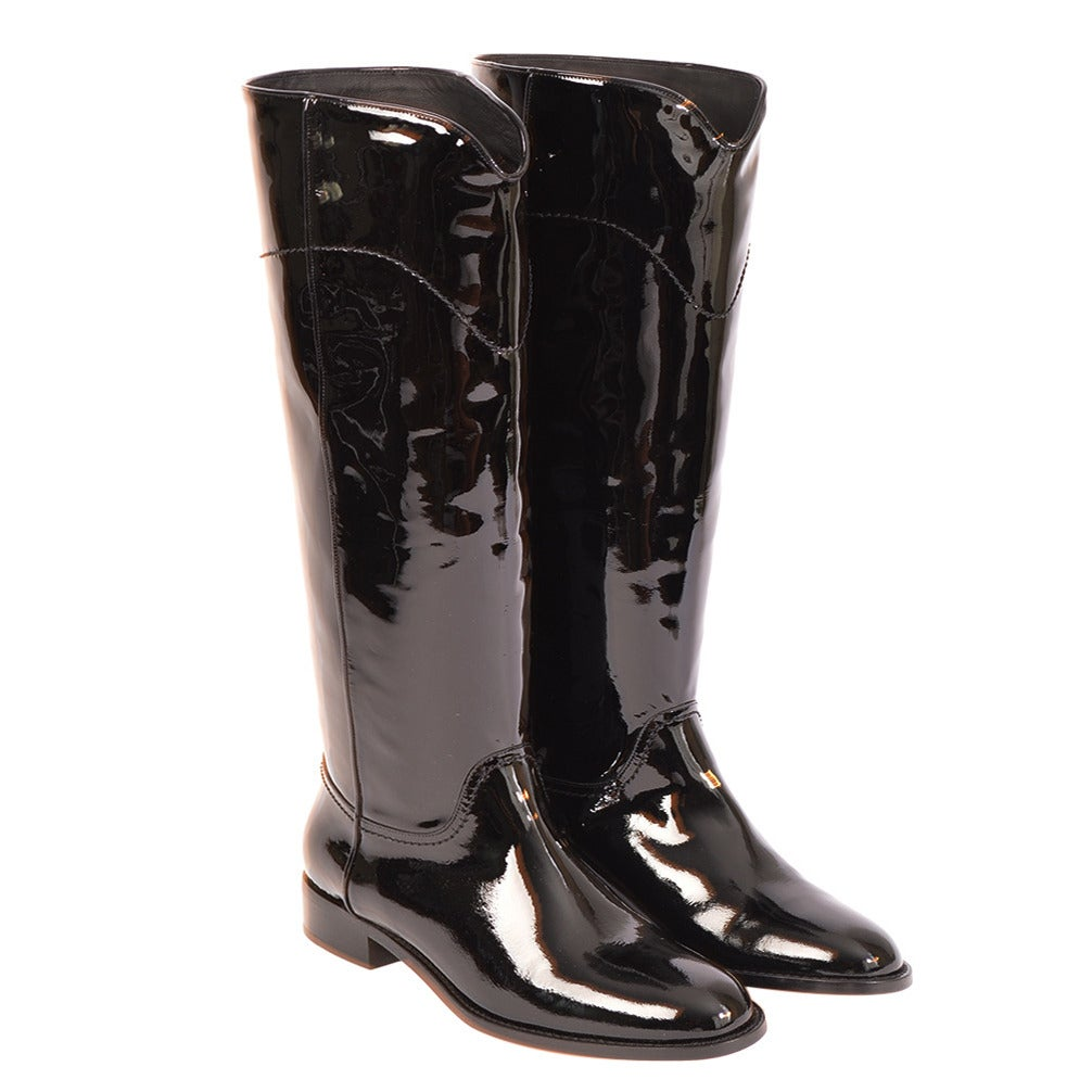 Chanel New Classic Black Patent Riding Boots at 1stdibs