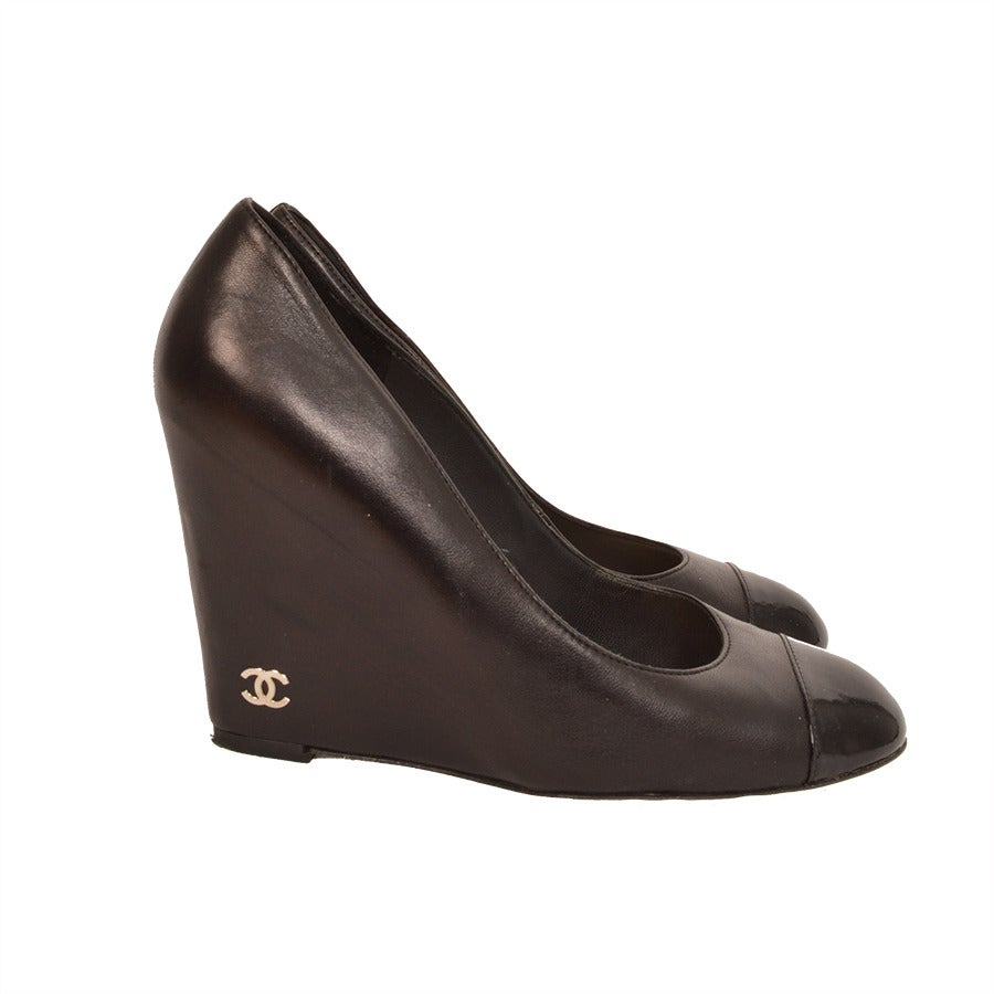 chanel cap toe wedges at 1stdibs