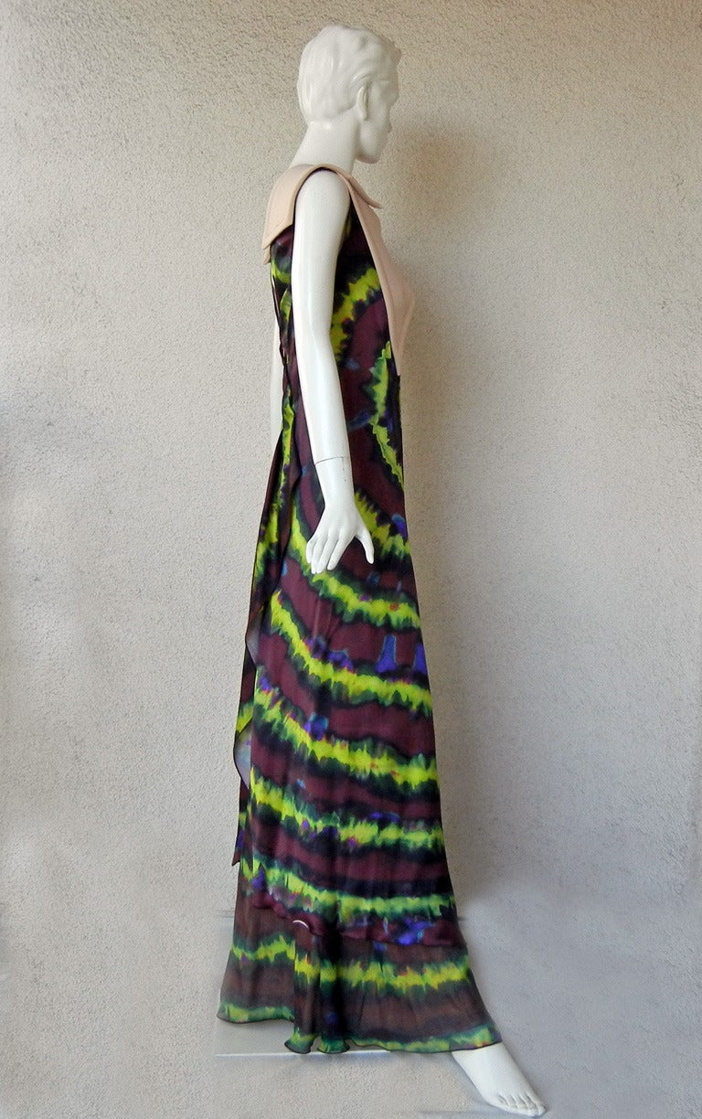 Women's Rodarte Homage to 1960's Tie-Dye Maxi Dress Neoprene Collar   For Sale