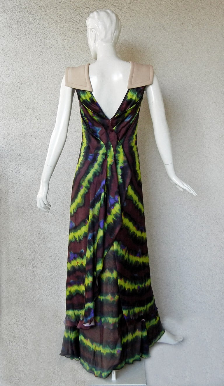 Rodarte Homage to 1960's Tie-Dye Maxi Dress Neoprene Collar   For Sale 1