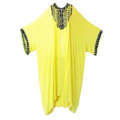 Oscar de la Renta Sunshine Yellow Beaded Tunic Caftan Dress