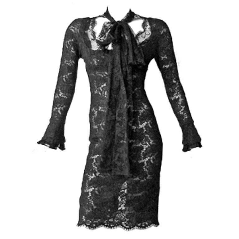 Tom Ford for YSL Devilishy Decadent Black Chantilly Lace Evening Dress For Sale