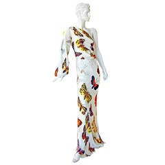 Alexander McQueen 2005 One Shoulder Butterfly Dress Gown in Ad Campaigns