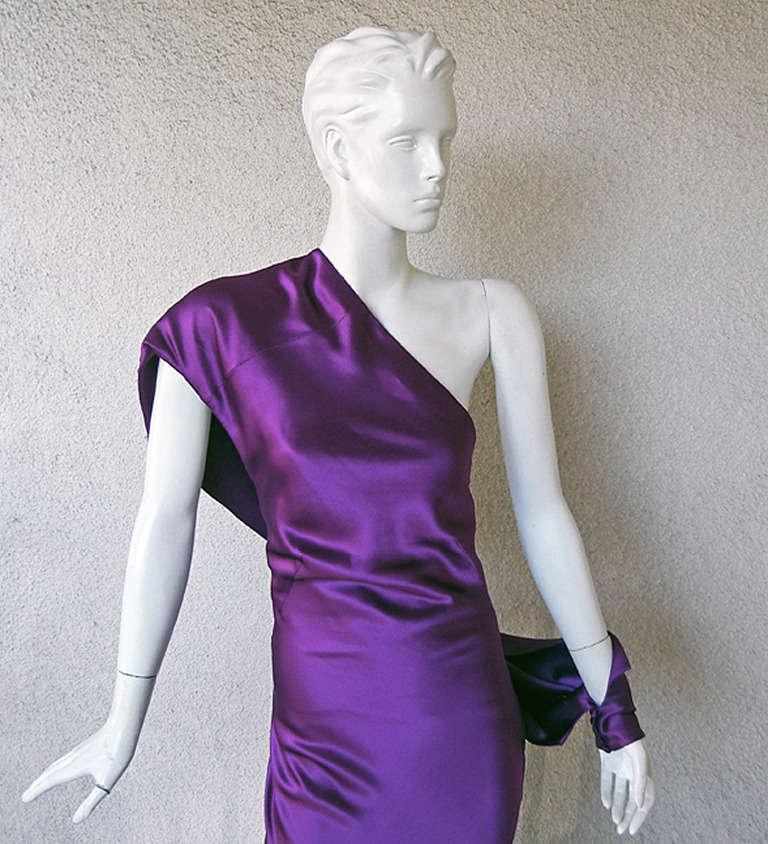 Alexander McQueen Drop Shoulder Violet Grecian Gown at 1stdibs