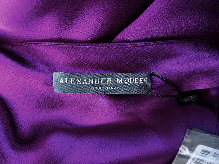 Women's Alexander McQueen Drop Shoulder Violet Grecian Gown For Sale