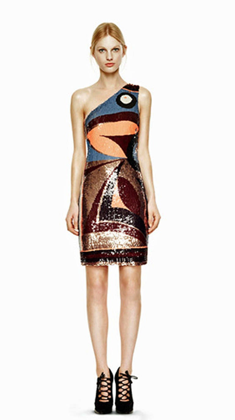 Emilio Pucci One Shoulder Beaded Geometric Pattern Evening ...