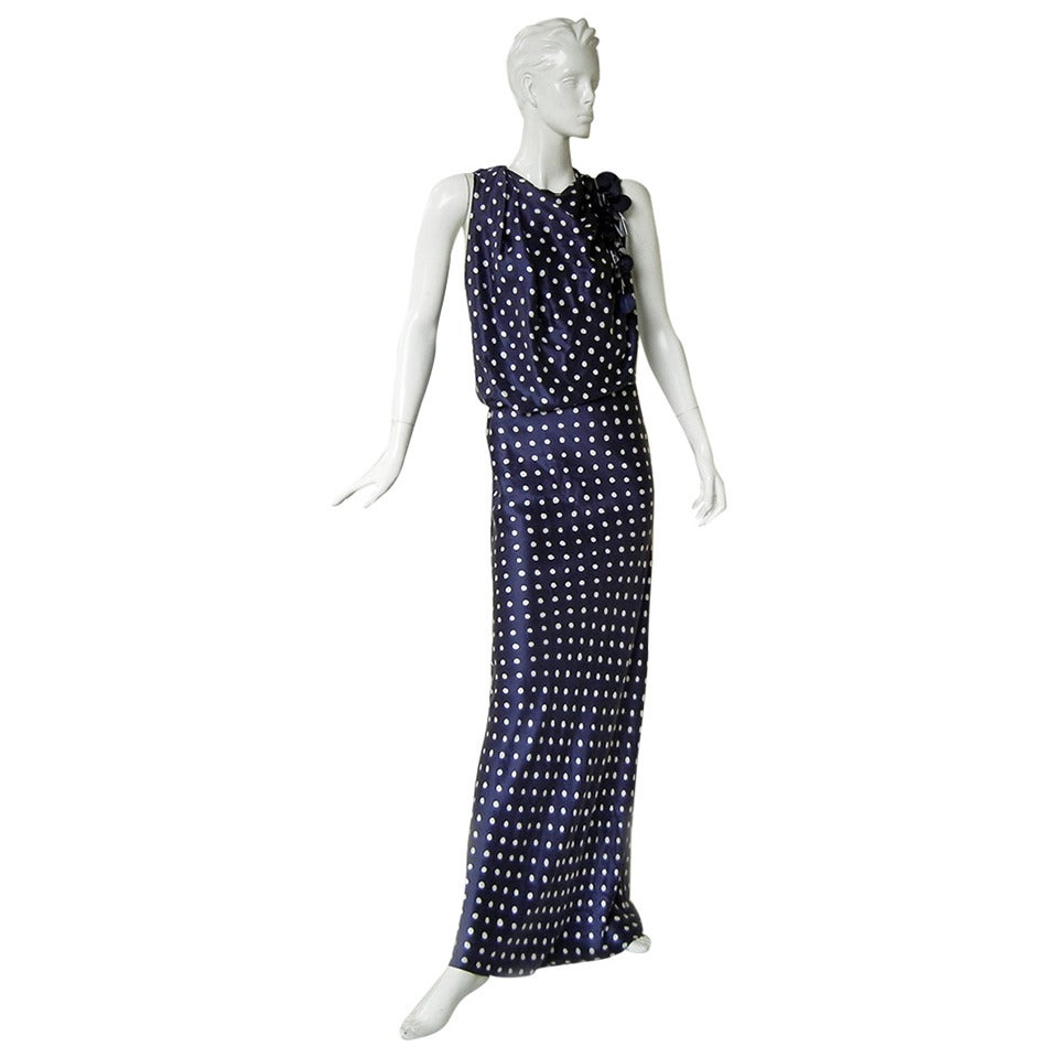 Elegant Lanvin Fine 1930's Inspired Polkadot Dress Gown 1