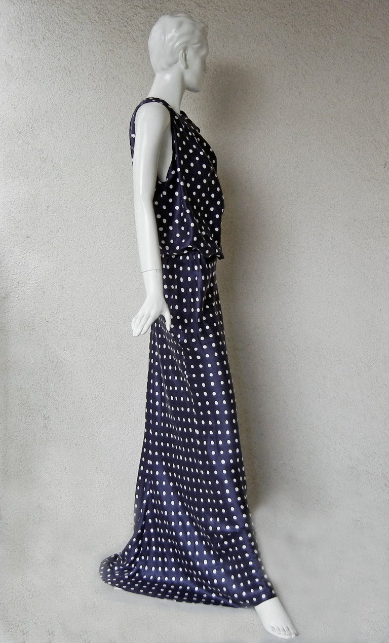 Elegant Lanvin Fine 1930's Inspired Polkadot Dress Gown 4