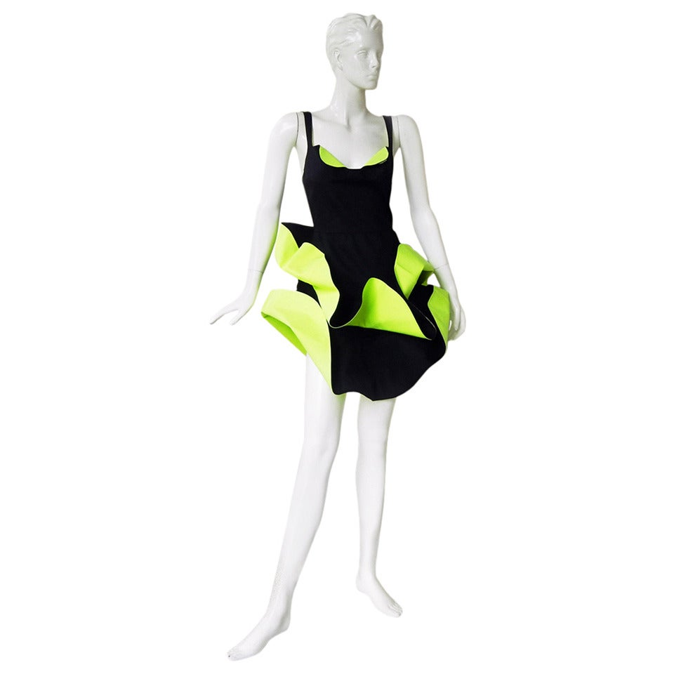 Thierry Mugler Rare 1990's Two-Tone Sculptural Petal Dress