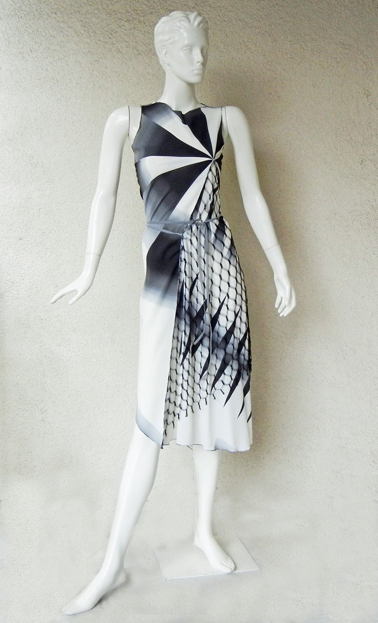 2001 Gaultier Asymmetric Pin Wheel Silk & Lace Runway Ad Campaign Dress 4