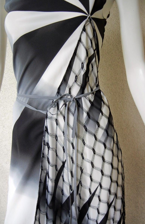 2001 Gaultier Asymmetric Pin Wheel Silk & Lace Runway Ad Campaign Dress 5