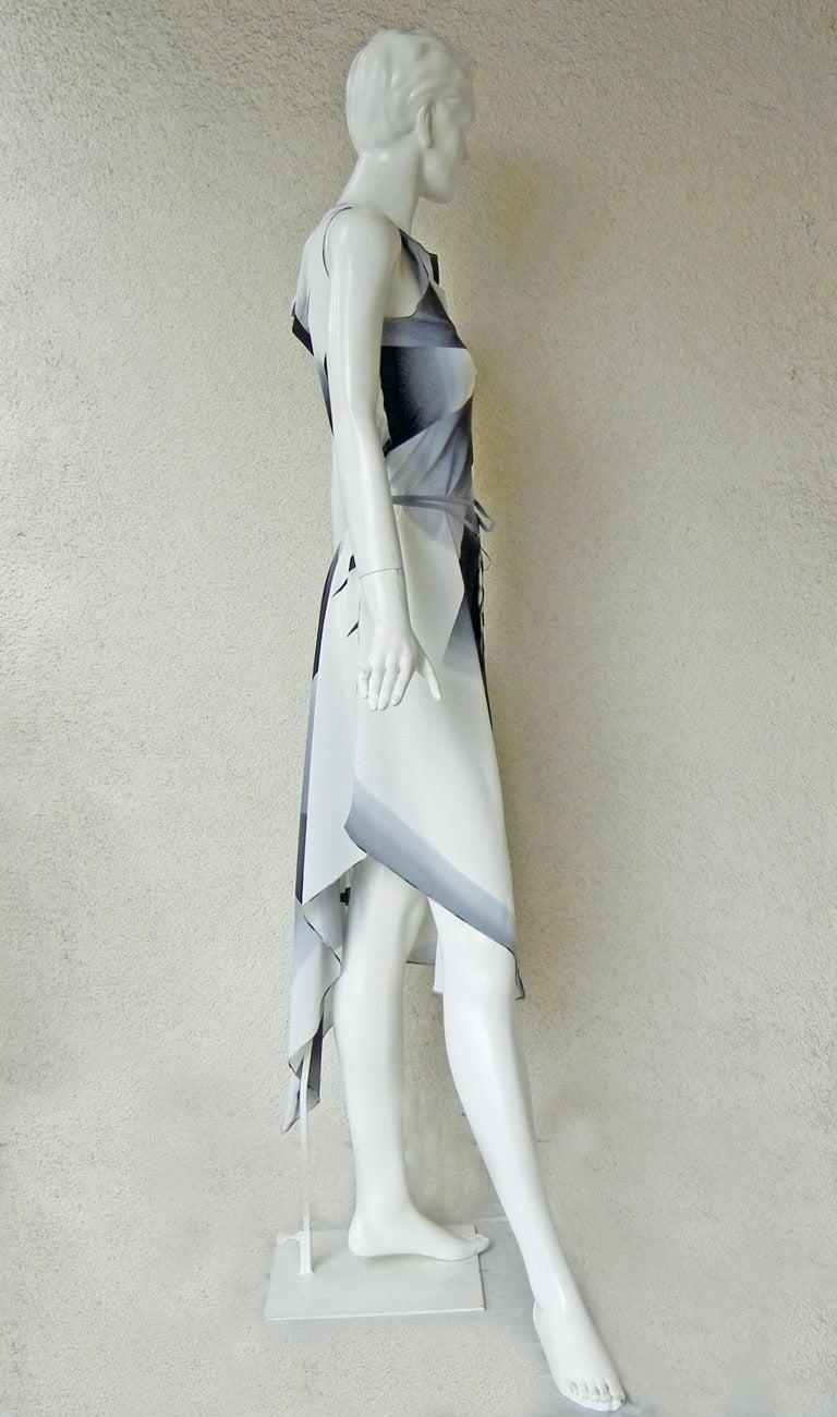 2001 Gaultier Asymmetric Pin Wheel Silk & Lace Runway Ad Campaign Dress 6