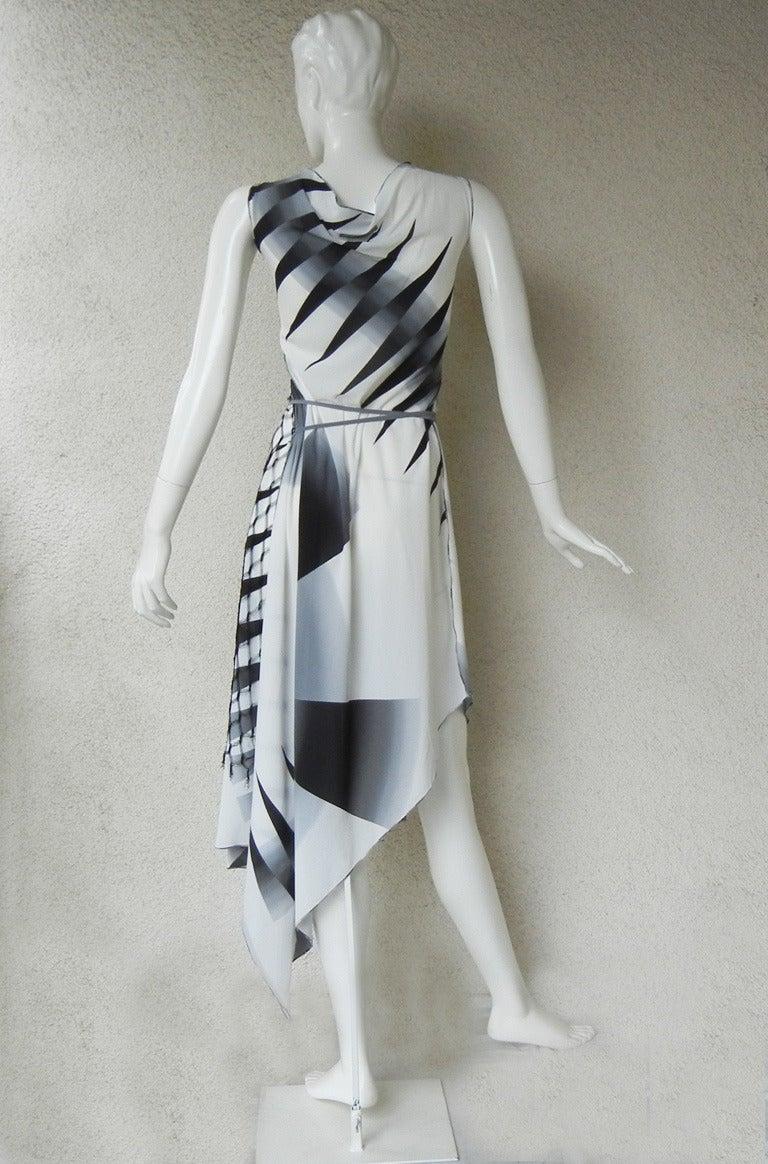 2001 Gaultier Asymmetric Pin Wheel Silk & Lace Runway Ad Campaign Dress 7