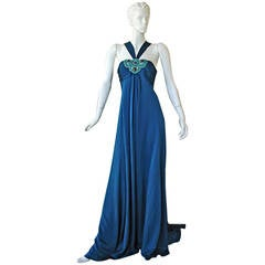 Andrew Gn Art Deco Inspired Jeweled Halter Dress Gown with Train
