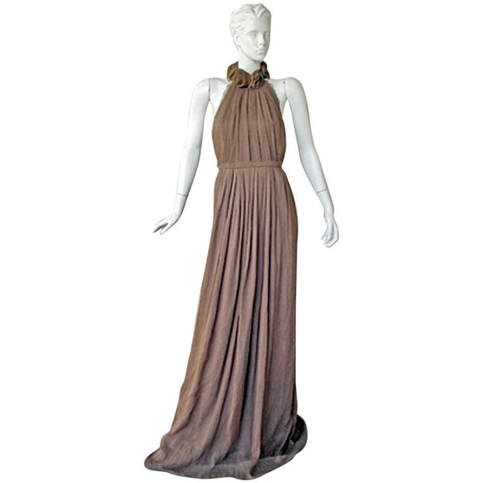 Lela Rose Summer Elegance Rosette Neckline Open Back Dress Gown