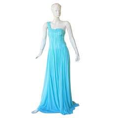 Michael Kors Grecian 1 Shoulder Seamfoam Grecian Goddess Gown New