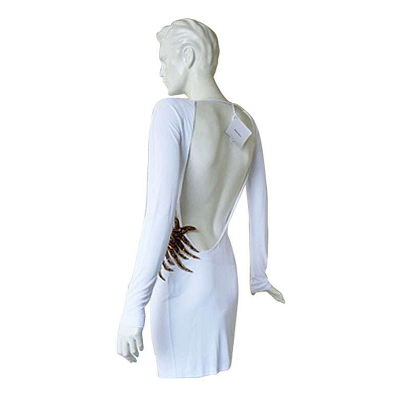 """Emilio Pucci """"Stop Traffic"""" Very Sexy White Jeweled Evening Dress  New!"""