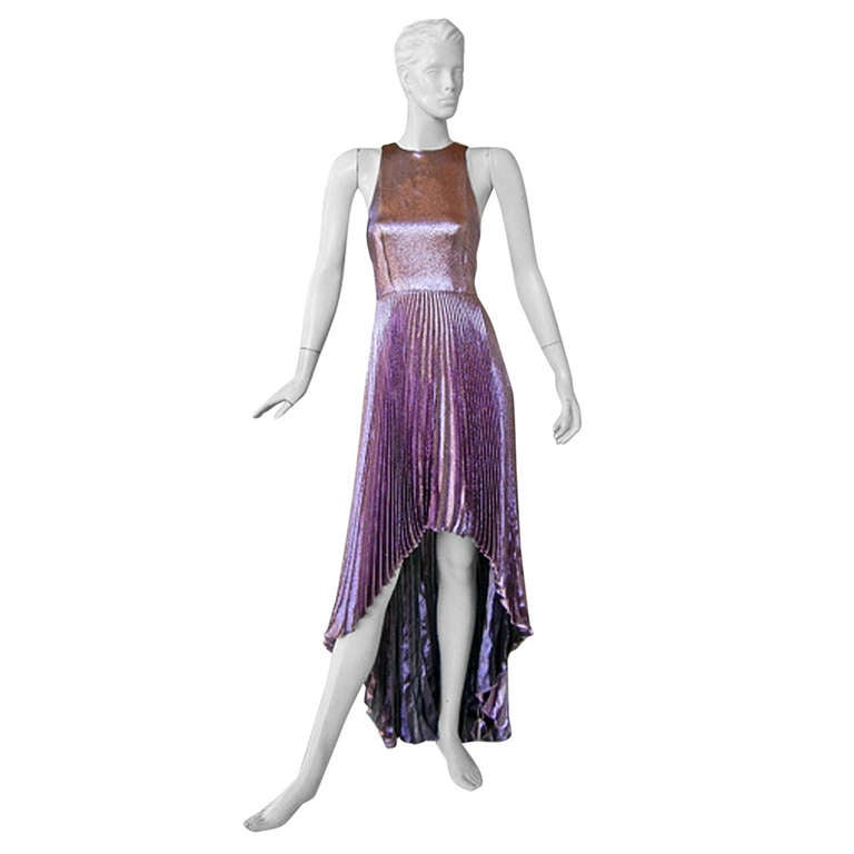 Christopher Kane Hi Low Rasberry Lame Pleated Evening Dress For Sale