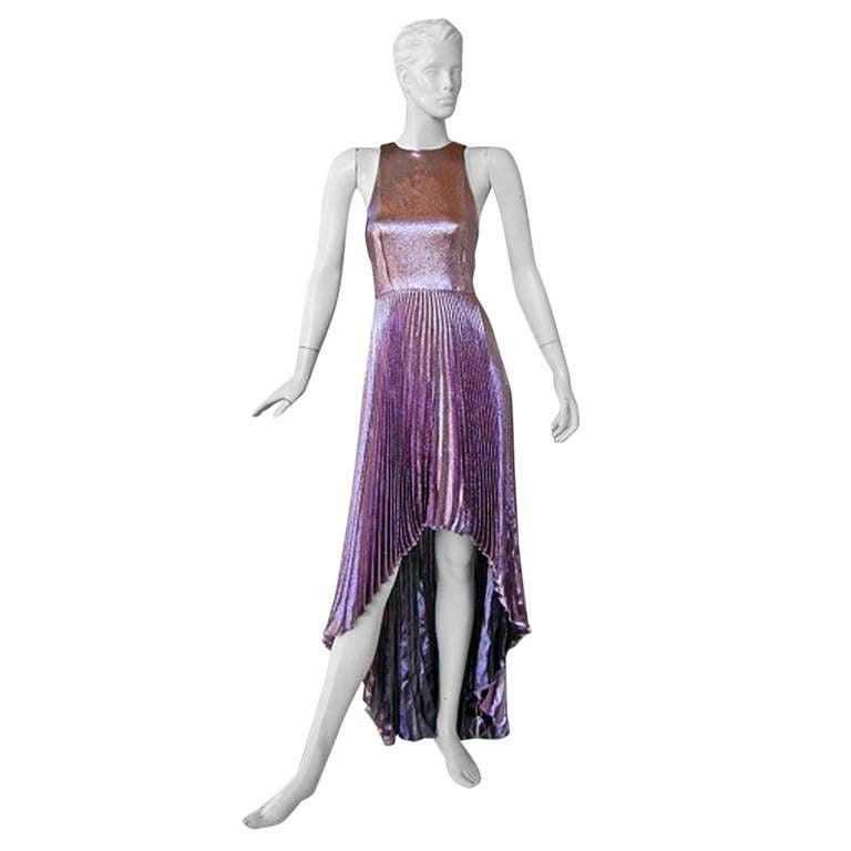 Christopher Kane Hi Low Rasberry Lame Pleated Evening Dress