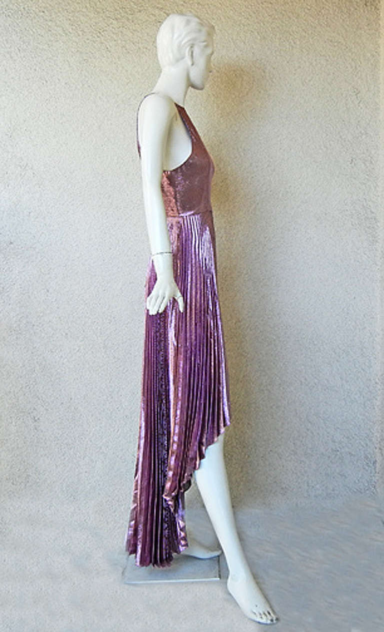 Gray Christopher Kane Hi Low Rasberry Lame Pleated Evening Dress For Sale