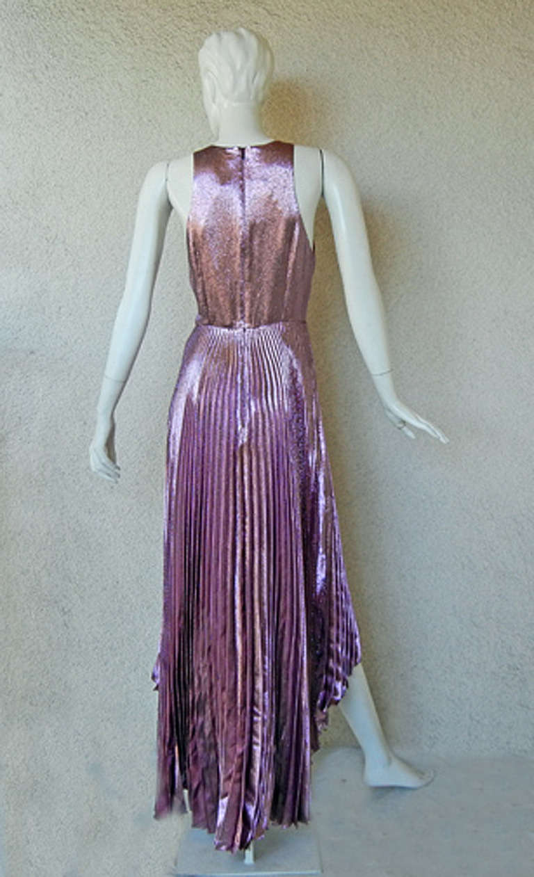 Christopher Kane Hi Low Rasberry Lame Pleated Evening Dress In New Never_worn Condition For Sale In Los Angeles, CA