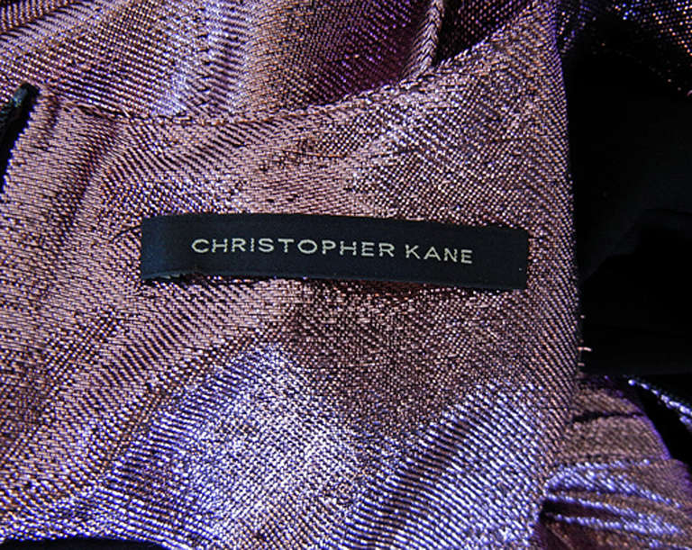 Women's Christopher Kane Hi Low Rasberry Lame Pleated Evening Dress For Sale