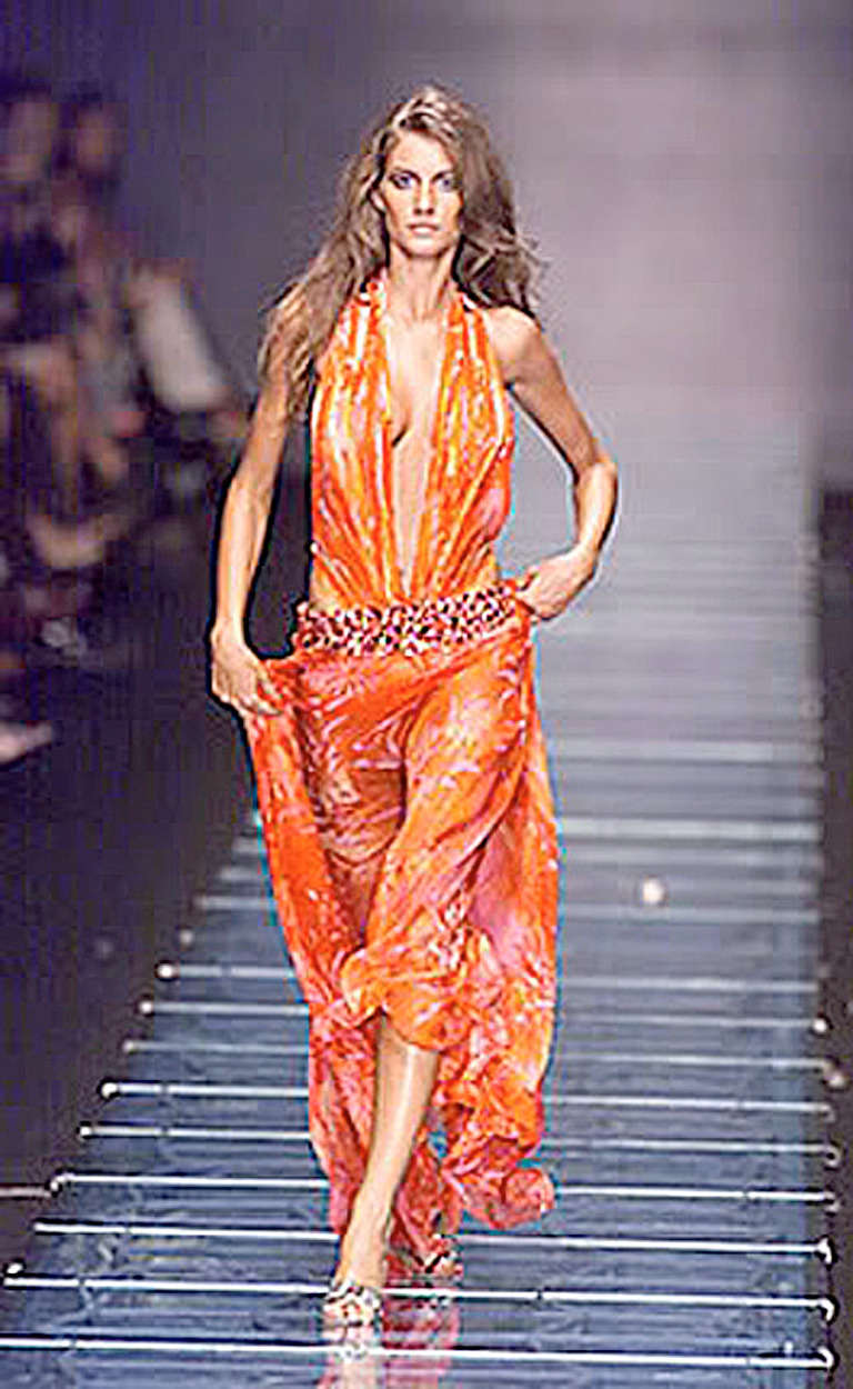 Rare Versace Jeweled Tropical Print Plunging Neckline Gown