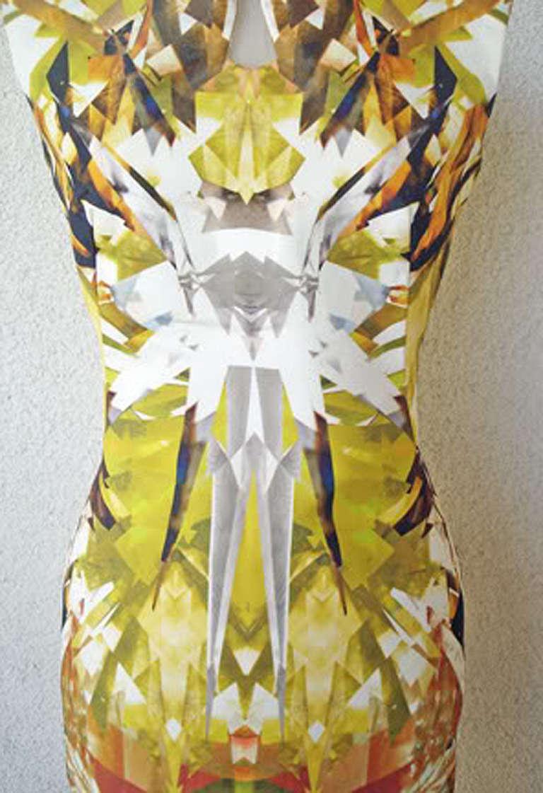 Brown Alexander McQueen 2009 Futuristic Print Sheath Dress -new For Sale