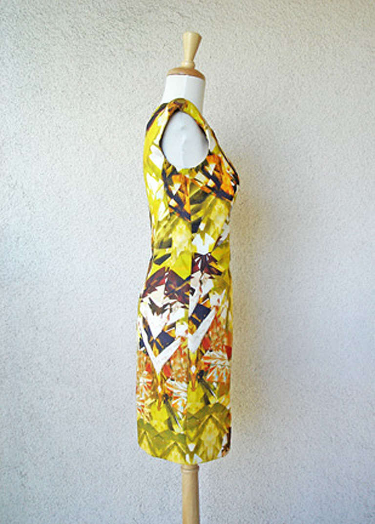 Women's Alexander McQueen 2009 Futuristic Print Sheath Dress -new For Sale