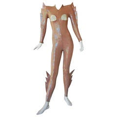 Rare 1979 Thierry Mugler Galactic Siren Sequin Catsuit with Winged Fins