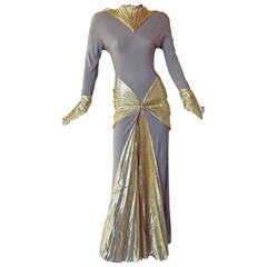 Thierry Mugler Circa 1980's Gold Lame Mermaid Dress Gown
