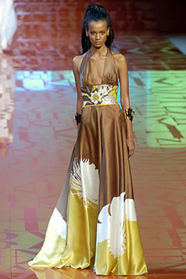 Valentino Exotic Tropical Beaded Halter Gown For Sale At