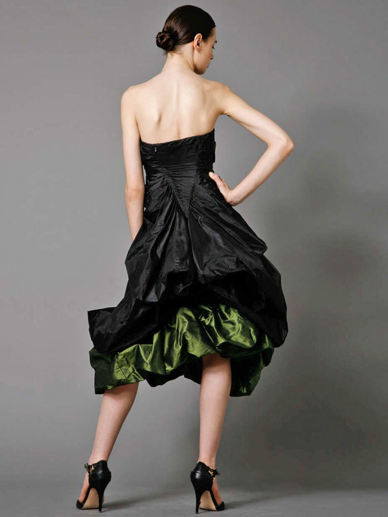 Alexander McQueen 2007 Black & Petrol Green Bustier Silk Evening Dress NWT In New Condition For Sale In Los Angeles, CA
