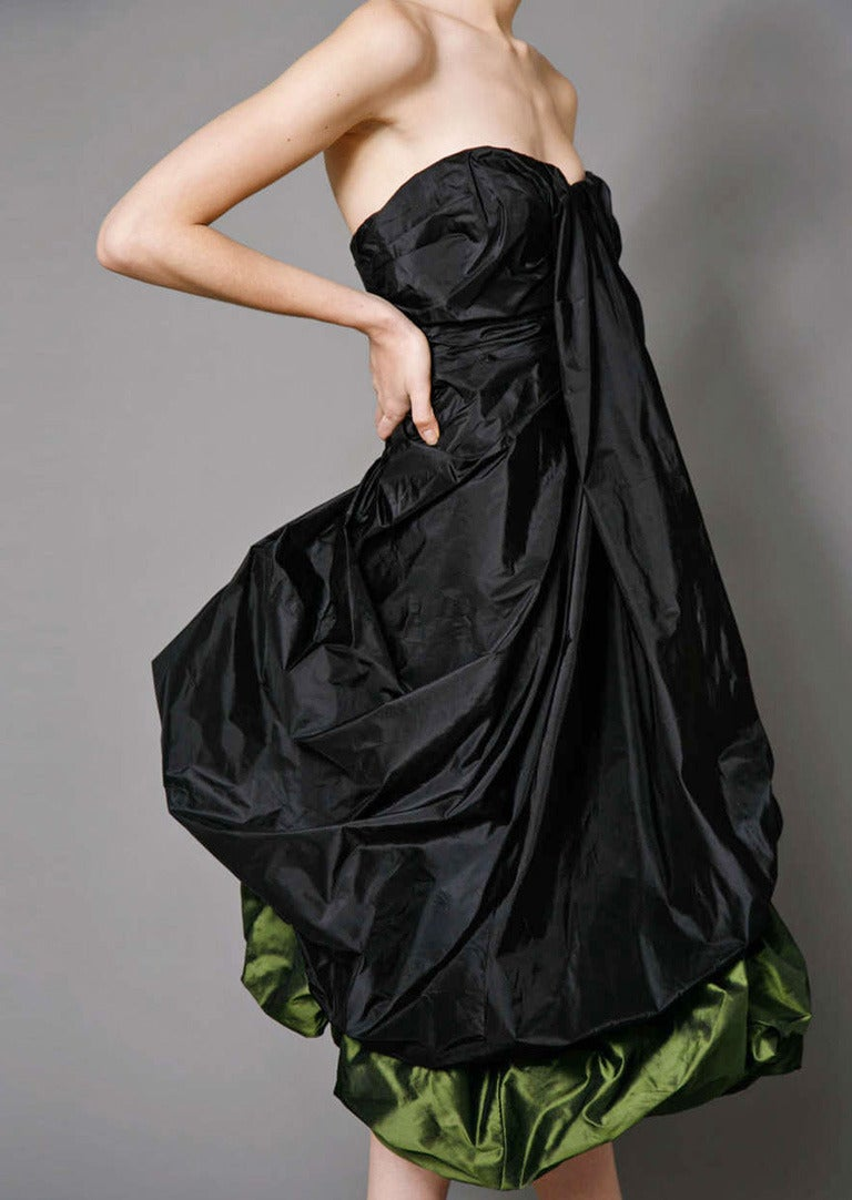 Women's Alexander McQueen 2007 Black & Petrol Green Bustier Silk Evening Dress NWT For Sale