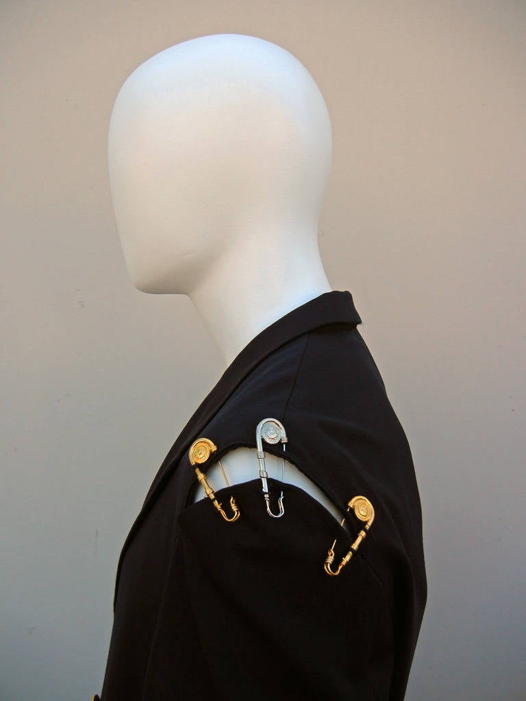 Gray Rare Iconic 1994 Gianni Versace Men's Safety Pin Suit For Sale
